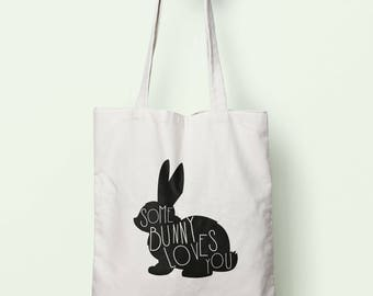 Some Bunny Loves You Tote Bag Long Handles TB1791