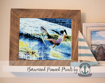 Ride the Wave Surfer - Reclaimed Barnwood Framed Print - Ready to Hang - Sizes at Dropdown