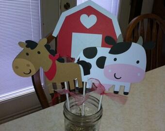 Farm animal centerpiece sticks