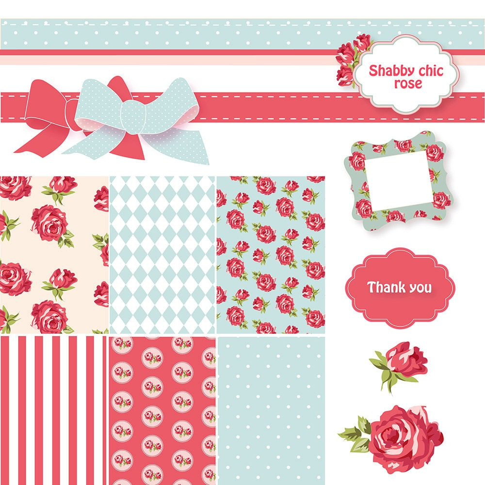 Shabby Chic Digital Scrapbook Paper Pack Papers Red And Blue Vector Frames Roses Clip Art