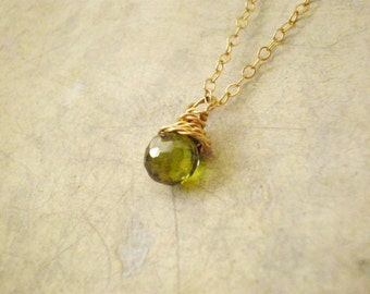 Green Cubic Zircone pendant necklace, 14k gold filled necklace
