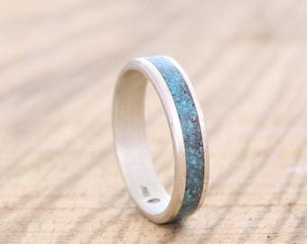 Herrenring, Frauen-Band, Silberhochzeit Ring mit Türkis Einlage