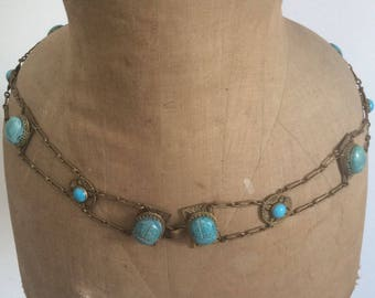 Vintage Antique 1900's to 1930's Egyptian Revival Chain Scarab Belt