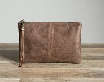 Brown Leather Clutch bag. Leather Anniversary. Third Anniversary gift for her. 3rd anniversary gift. Leather handbag. Distressed Purse