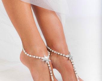 Beaded barefoot sandals, Bridal foot jewelry, Pearl and Rhinestone Starfish Beach wedding Barefoot Sandals, Bridesmaid gift, Wedding gift