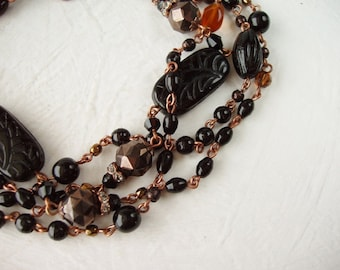 Black Chocolate Long Necklace. Birthday Gifts. Beaded Sautoir in Black & Brown. Layered Necklaces. Classic Jewelry. Flapper Necklace