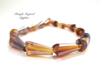 Amber Topaz Glass Beads, 12mm & 14mm Teardrops, Honey Gold Faceted Cone Beads, Art Deco Abstract Drop Beads, Pointed Tube Beads 15 Pcs SP812