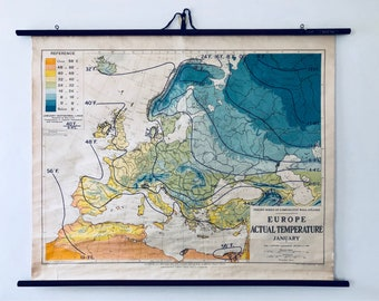 Vintage Roll Up Map - European Climate - Circa 1930s - George Philip & Son Ltd. - London Geographical Institute - Winter Weather Map