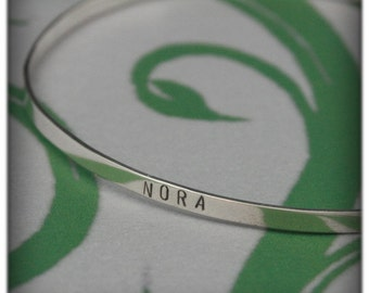 Modern Family Name Bangle Bracelet~Hand Stamped Solid Sterling Silver~Family Jewelry~Gift~Personalized~Mother's Gift~Stamped Bracelet