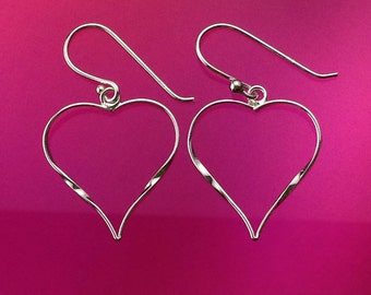925 Solid Sterling Silver HEART Earrings-Open Heart-Dangle-Polished