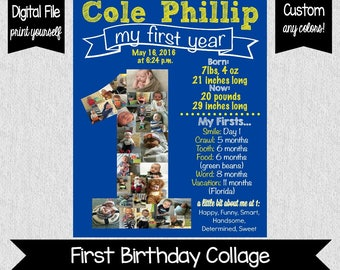 Baby's First Year Collage - First Birthday Photo Collage - First Birthday Poster - Blue & Yellow First BIrthday - One Year Old Collage