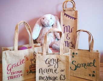 Personalised bag etsy personalised bags custom jute bag hen party bags mothers day bag easter negle Gallery