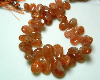 SunStone Pear Shaped Briolette Beads, 16x9mm To 8x12mm Each, 22 Pieces Approx, 4.5 Inch Half Strand