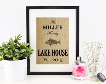 Lake House Decor | Lakehouse Sign | Lake Life Decoration | Burlap Print | Personalized Lake Sign | Fish Wall Art | House Warming Gift