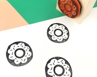 Rubber Stamp, Laser Engraved Stamp, Donut Stamp, Chocolate Donut, Cute Donut Stamp, Hand Drawn Stamp, Craft Stamp, Fun Pattern Stamp