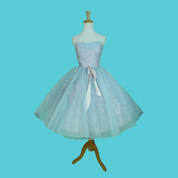 Strapless Vintage Size S XS Disney Chiffon Dress 1950s Poofy Blue Dress Princess Baby And Lace wrqxI7r