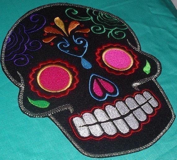 Sugar Skull EMBROIDERy patch '9' multi pink Day of the Dead