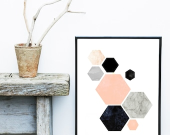 Geometric Art, Printable Art, Hexagon Print, Geometric Print, Scandinavian Art, Wall Decor, Abstract Art Print, Instant download