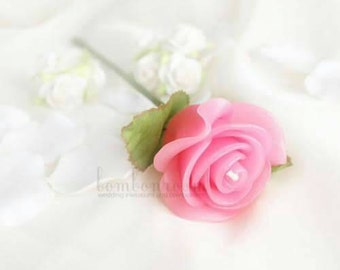 12x Rose floating candles on stem 4.5cm size - PINK