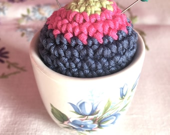 Cute pincushion, crochet pincushion, floral eggcup pincushion, pottery pincushion