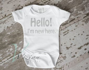 baby romper, creeper, hello new here, newborn outfit black, newborn outfits, newborn clothing,  cute baby clothing,  clothing with sayings