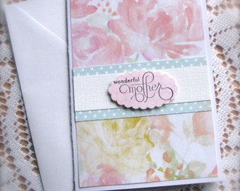 Mothers Day Card | Watercolor Florals | Blue Polka Dots