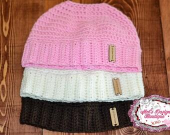 Messy bun hat ponytail hat women's girls crochet bun hat crochet ponytail hat ponytail beanie messy bun beanie gift beanie runners hat pink
