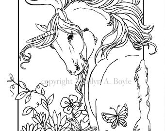 ADULT COLORING PAGE, digital download, Unicorn, flowers, butterfly, garden, fantasy, adult coloring,