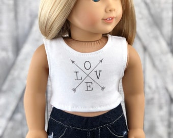 American Made Doll Clothes | Love with Arrows CROP TANK TOP for 18 inch doll
