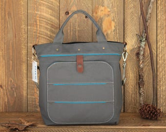 Dark Grey Canvas Diaper Bag, Messenger Diaper Bag