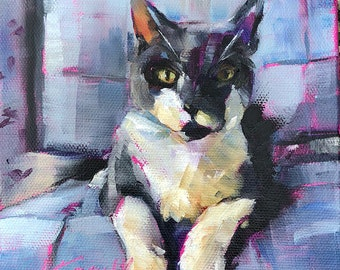 cat painting | cat art | pet painting | pet art | cat portrait | cat gift | feline art | gift for her | home decor | nursery decor