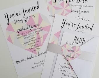 Sample Geometric Heart Wedding Invitations