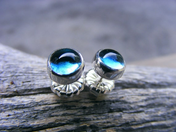 London Blue Topaz Studs Or Post Sterling Silver Earrings, December Gemstone Birthstone Earrings