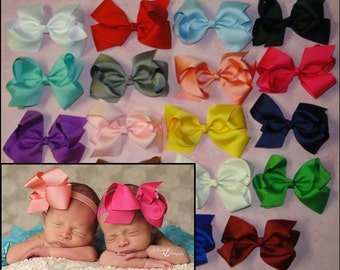 PICK 6 Large Bow Headbands, Baby Bow Headband, Hair Clips, Boutique Bow, Newborn Hair Bow, JoJo Bow, Infant Headband, Headband Bow, Bow Sets