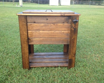Dark Walnut Stained wood cooler stand with shelf