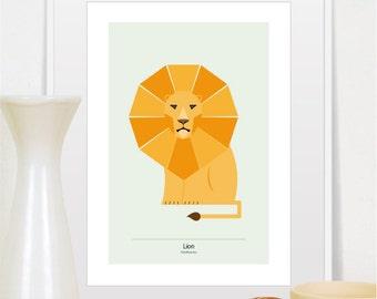 Lion imprimer, art mural de lion, animal print, impression art lion, lion, décor de lion, lion impression d'art, pépinière impression, affiche de lion, pépinière animal print, roi