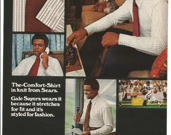 1973 Advertisement Gale Sayers for Sears Celebrity Endorsement The Mens Store Chicago Bears NFL Wall Art Decor
