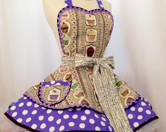 Cupcake Bakery PinUp Apron, Retro Apron , Woman's Apron, Purple Polka Dots, Kawaii