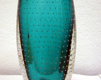 Exquisite Mid-Century Teal  Sommerso Bullicante Glass Vase