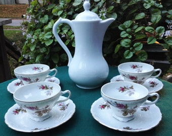 Set of 4 Vintage Rose Teacups and Saucers, China Teacups, Beautiful Set of 4 Teacups with Roses
