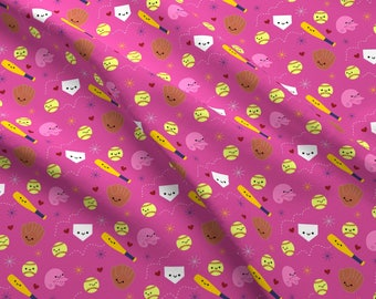 Softball Fabric - Happy Softball And Friends - Pink By Clayvision - Softball Pink Girl's Sports Cotton Fabric By The Yard With Spoonflower