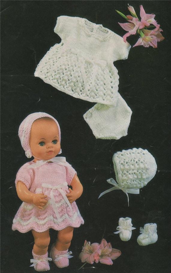 Dolls Clothes PDF Knitting Pattern : 12 inch high . 9 inch