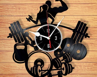 Powerlifting vinyl record wall clock handmade home decor unique gift for your friend for any occasion