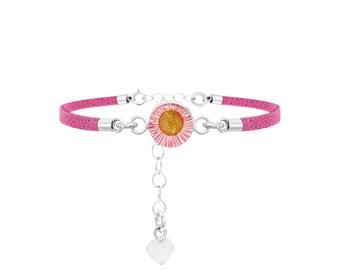 Fashion Bracelet - Pink Strap - Pink Daisy by Shrieking Violet®
