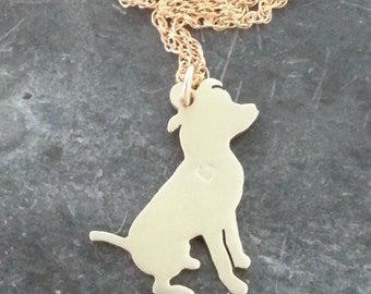 Sitting Pitbull Necklace, 14kt gold filled Chain & Brass Personalize Pendant, Breed Silhouette Charm Rescue Shelter, Memorial Gift