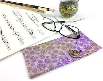 Glasses Case ~ Eyeglasses & Sunglasses ~ Gold Dust and Purple Luck