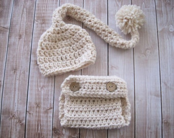 Crochet Baby Hat, Crochet Baby Stocking Hat, Baby Diaper Cover Set, Baby Girl Hat, Baby Boy Hat, Newborn Hat, Infant Hat, Ivory