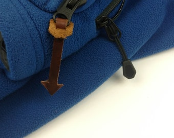 Leather Zipper Pull - Arrow