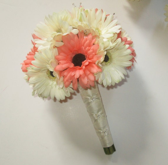 Gerbera Daisy Wedding Bouquet Silk Daisies Coral Floral Package