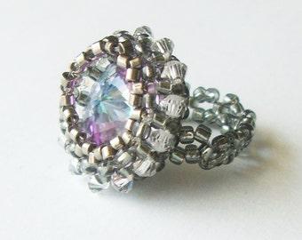 Beaded Rivoli Ring in Vitrail Light